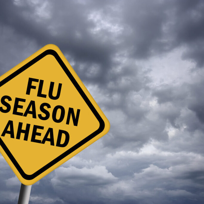 Illustration of flu season ahead sign